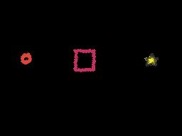 Ball, box and star